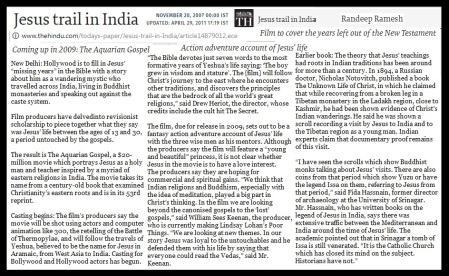Jesus trail in India, The Hindu 20-11-2007