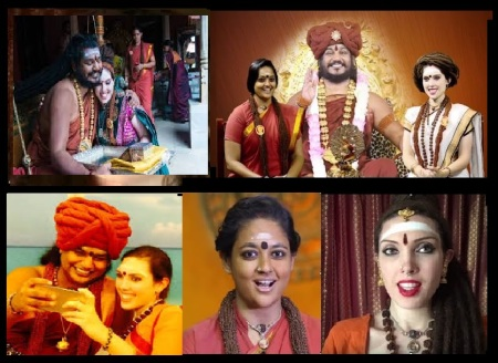 Sarah Stephanie Landry - different garbs-with Nithyananda